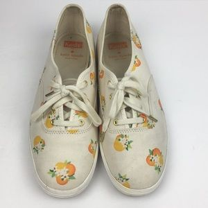 Keds for Kate Spade Lace Up White Sneakers Oranges